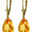 DD-2890Y: 14K. GOLD LEVER BACK EARRINGS NATURAL13x9 mm CITRINES