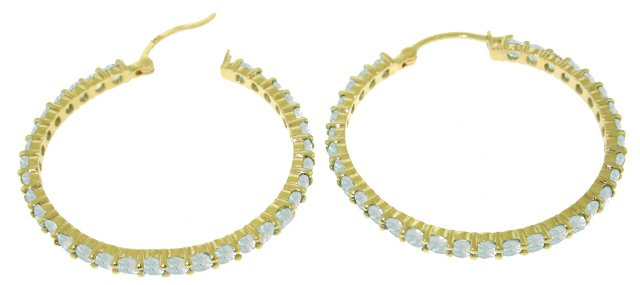 DD-3922: 14K. SOLID GOLD HOOP EARRINGS WITH NATURAL AQUAMARINES