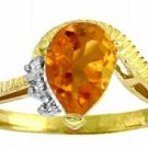 DD-R-2984Y: 14K. SOLID GOLD RING WITH NATURAL DIAMONDS & CITRINE