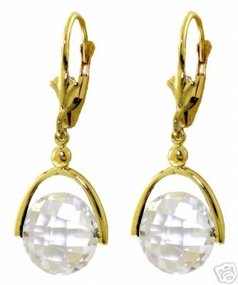 DD-2610Y: 14K. LEVERBACK EARRING W/CHECKERBOARD CUT WHITE TOPAZ