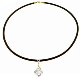 DD-4096: 14K. GOLD & LEATHER NECKLACE W/ DIAMOND & WHITE TOPAZ