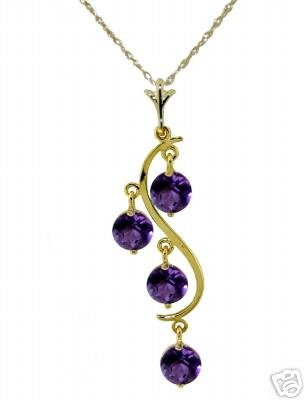 DD-1771Y:14K.SOLID GOLD NECKLACE NATURAL AMETHYST