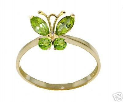 DD-R-2346Y: 14K. SOLID GOLD BUTTERFLY RING WITH NATURAL  PERIDOTS