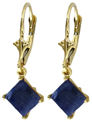 DD-4330Y: 14K. SOLID GOLD LEVER BACK EARRINGS NATURAL SAPPHIRE