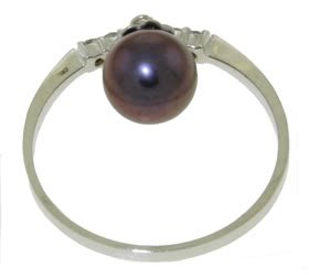 DD-2859W: 14K.SOLID GOLD NATURAL DIAMOND RING WITH BLACK PEARL