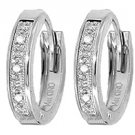 DD-1039W: *14K. WHITE GOLD HUGGIE EARRINGS WITH  NATURAL DIAMONDS