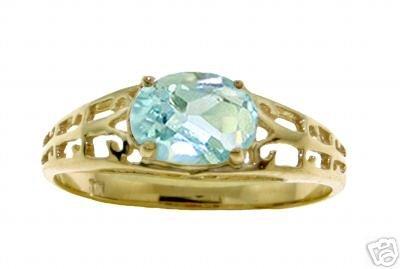 DD-R-2393Y: 14K. SOLID GOLD FILIGREE RING WITH  NATURAL AQUAMARINE