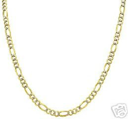 """14K. GOLD WHITE PAVE FIGARO CHAIN 18"""" LONG 2.25 mm WIDE"""
