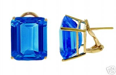 DD-2159Y: 14K. GOLD FRENCH CLIPS EARRINGS W/NATURAL BLUE TOPAZ