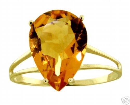 DD-R-2000Y: 14K. SOLID GOLD RING W/ NATURAL PEAR SHAPE CITRINE