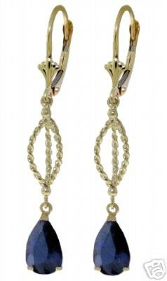 DD-2047Y: 14K. SOLID GOLD LEVERBACK EARRING WITH SAPPHIRES