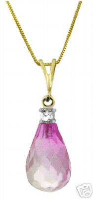 DD-3025Y: 14K. GOLD NECKLACE WITH NATURAL DIAMOND & PINK TOPAZ