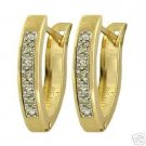 DD-1108Y: 14K. SOLID GOLD HUGGIE EARRINGS WITH  NATURAL DIAMONDS