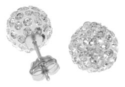 DD-4047 : 14K. SOLID GOLD WHITE CUBIC ZIRCONIA BALL STUD EARRINGS