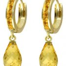 DD-3314: 14K.GOLD DANGLING WITH NATURAL CITRINES HOOP EARRINGS