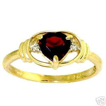 DD-R-1210Y: 14K. GOLD RING W/ NATURAL DIAMONDS & HEART GARNET