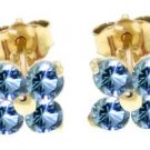 DD-1741Y: 14K. SOLID GOLD STUDS EARRINGS WITH NATURAL BLUE TOPAZ
