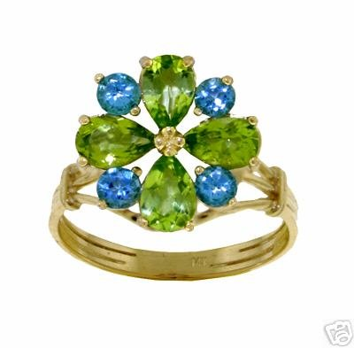 DD-2227Y: 14K. SOLID GOLD RING WITH NATURAL  PERIDOT & BLUE TOPAZ