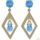 DD-1396Y: 14K. GOLD CHANDELIERS EARRINGS WITH NATURAL BLUE TOPAZ