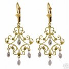 DD-1655Y: 14K. GOLD CHANDELIERS EARRINGS WITH NATURAL DIAMONDS