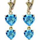 DD-2695Y: 14K. SOLID GOLD EARRINGS WITH NATURAL HEARTS BLUE TOPAZ