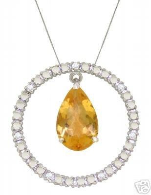 DD-2516W: 14K. DIAMONDS & CITRINE CIRCLE OF LOVE NECKLACE