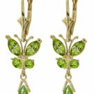 DD-2702Y: 14K. GOLD BUTTERFLY EARRING WITH NATURAL PERIDOTS
