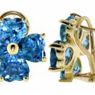 DD-2184Y: 14K. SOLID GOLD FRENCH CLIPS EARRING NATURAL BLUE TOPAZ