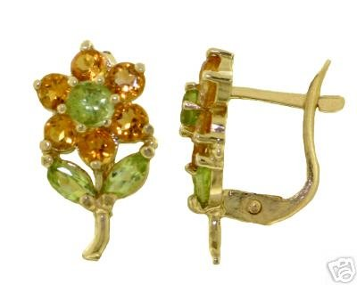 DD-2363Y: 14K GOLD FLOWERS STUD EARRINGS W/ CITRINES & PERIDOTS