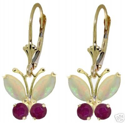 DD-2203Y:14K GOLD BUTTERFLY EARRING WITH NATURAL OPALS & RUBYS