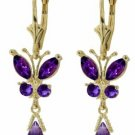DD-2700Y: 14K. GOLD BUTTERFLY EARRING WITH NATURAL AMETHYSTS
