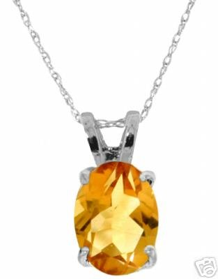 DD-1705W: 14K. SOLID WHITE GOLD  NECKLACE WITH NATURAL CITRINE