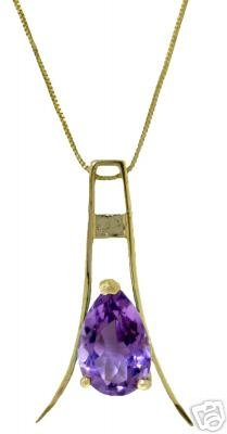 DD-2509Y: 14K. SOLID GOLD  NECKLACE WITH NATURAL AMETHYST