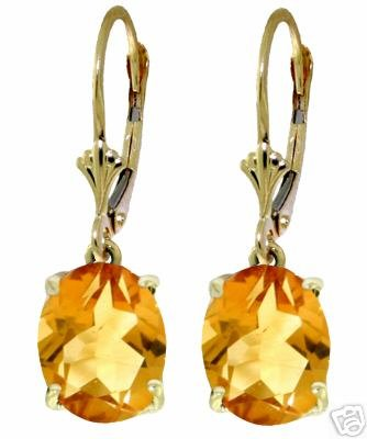 DD-2645Y: 14K. SOLID GOLD LEVER BACK EARRINGS W/NATURAL CITRINES