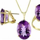 DD-1823Y: 14K. NECKLACE NATURAL14x10 mm OVAL SHAPE AMETHYST