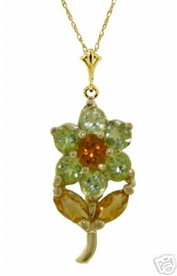 DD-2375Y: 14K. GOLD FLOWER NECKLACE W/NATURAL  PERIDOT & CITRINES