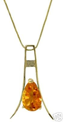 DD-2508Y: 14K. SOLID GOLD  NECKLACE WITH NATURAL CITRINE