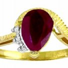 DD-R-2978Y: 14K. SOLID GOLD RING WITH NATURAL DIAMONDS & RUBY