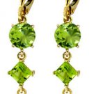 14K SOLID GOLD LEVER BACK EARRINGS WITH NATURAL PERIDOT