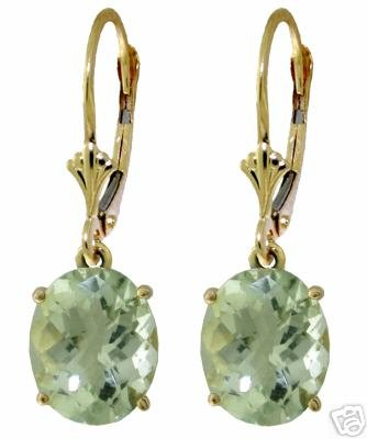 DD-2273Y: 14K.GOLD EARRINGS WITH CHECKERBOARD CUT GREEN AMETHYST