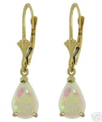 DD-2197Y: 14K. SOLID GOLD LEVER BACK EARRINGS WITH NATURAL OPALS