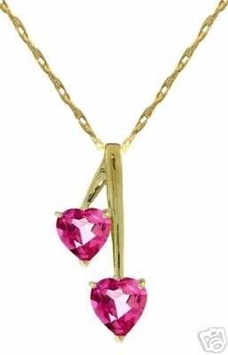DD-2486Y: 14K SOLID GOLD HEARTS NECKLACE WITH NATURAL PINK TOPAZ