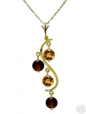 DD-2096Y: 14K.SOLID GOLD NECKLACE NATURAL  GARNET & CITRINE
