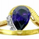 DD-R-2987Y:  14K. SOLID GOLD RING WITH NATURAL DIAMONDS & SAPPHIRE