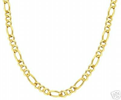 "14K. SOLID GOLD FIGARO CHAIN 16"" LONG 3.10 mm WIDE"