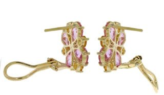 DD-2151Y: 14K GOLD FRENCH CLIPS EARRINGS W/ PINK TOPAZ & CITRINES