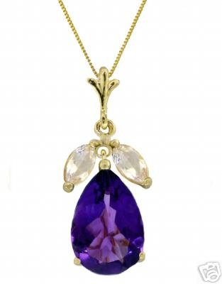 DD-2533Y: 14K SOLID GOLD NECKLACE WITH AMETHYST & WHITE TOPAZ