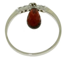 DD-2855W:14K. GOLD NATURAL DIAMOND RING WITH DANGLING GARNET