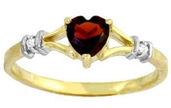 DD-R-1196Y: 14K. GOLD RING WITH NATURAL DIAMONDS & HEART GARNET