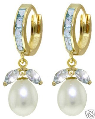 DD-3116Y: 14K. GOLD EARRINGS WITH NATURAL PEARLS & AQUAMARINES